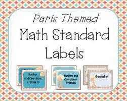Paris Theme math standards labels